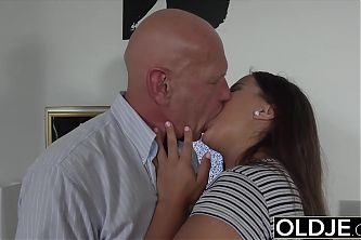 Old and young sex starts sensual and ends with hot cum